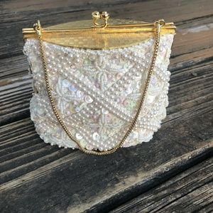 Vintage Cream Ivory Beaded Sequin Bag Purse Clutch